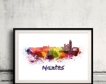 Nantes skyline in watercolor over white background with name of city 8x10 in. to 12x16 in. Poster Wall art Illustration Print  - SKU 0330