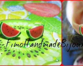 Watermelon earrings lobe