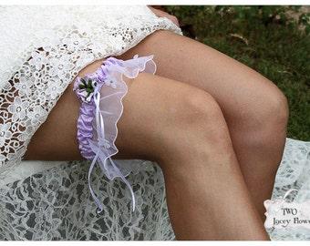 Lavender Garter Flower Bridal Garter Keepsake Garter Lilac Garter Wedding Garter Toss Garter by 2LaceyFlowers