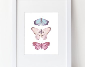 Watercolor Butterflies Print - Cool Calm Colors Watercolor Art Print, Blue Pink and Purple - Girls Room Art