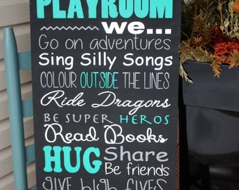 Playroom rules sign  - Wood Sign - Hand painted - childrens sign - toy room sign - kids wall art