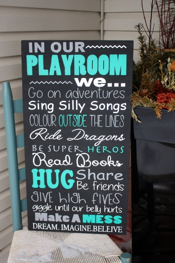 Playroom rules sign wood sign toy room decor day care wall for Signs for kids rooms