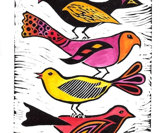 Birds Orginal Linocut by Rima Macikunas Red Orange Yellow Tones
