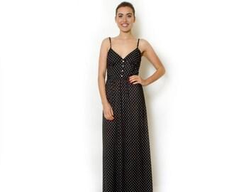 Black Polka Dot Maxi Dress Long Straps Dress  Open Back Summer Day Dress For Women