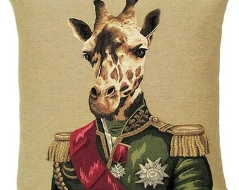 giraffe tapestry cushion throw pillow cover miltary costume jacquard woven inBelgium - PC-5321