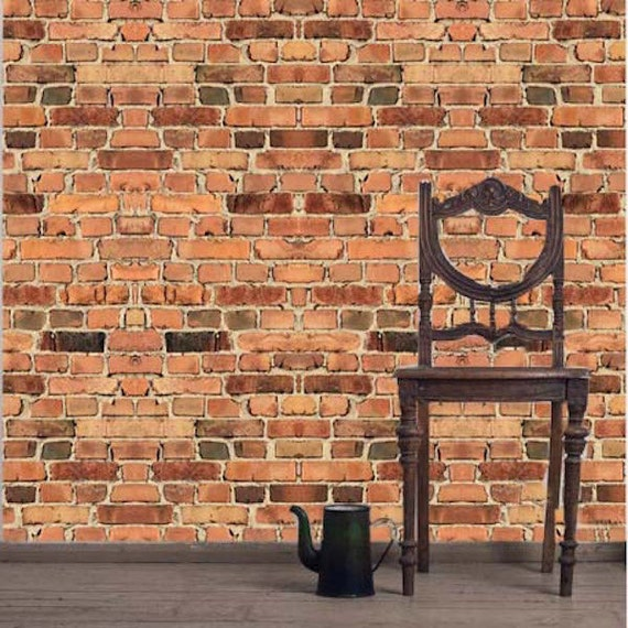 Brick wall paper decal brick wall art sticker brick by for Brick wall decal mural