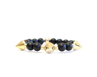 Gold Spike Beaded Bracelet