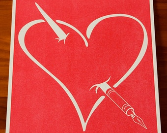 Write Your Heart Out Letterpress Poster