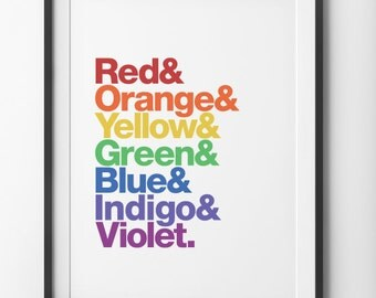 ROYGBIV Typographic Poster, Color Spectrum Type Rainbow Helvetica Home Decor, Rainbow Type Helvetica Wall Decor, Helvetica Digital Print