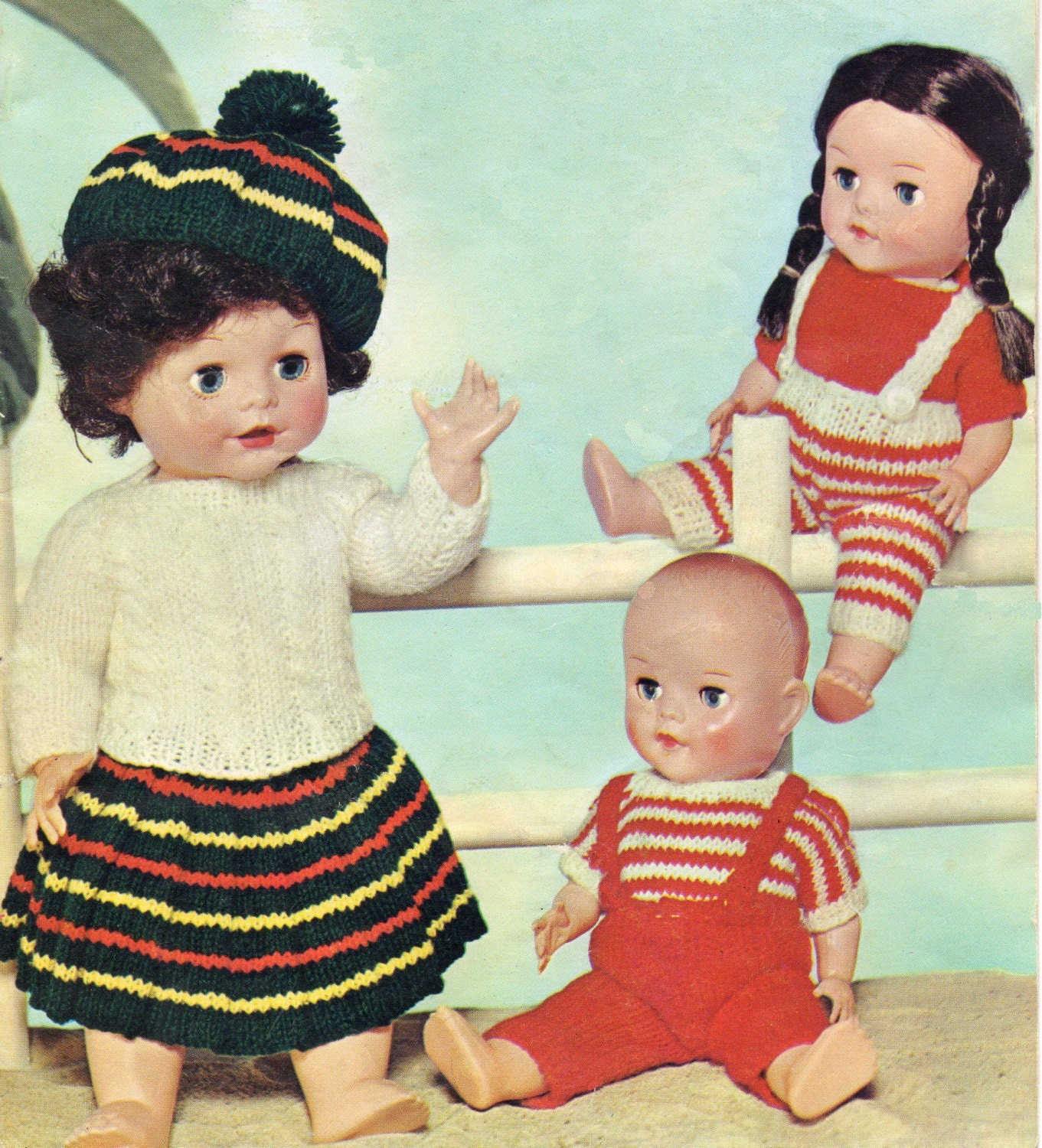 Free Knitting Patterns For 10 Inch Dolls Clothes : Vintage Knitting Pattern Dolls Clothes to fit 10 16 inch