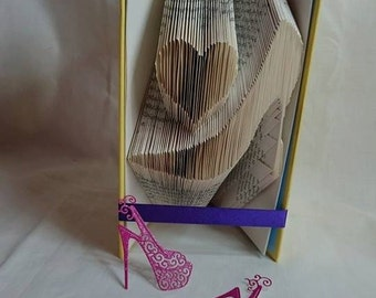 love shoes book folding pattern, heart, shoes, hight heels, stiletto, gift, for her, mmf