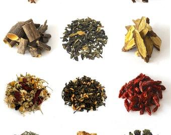 JULY 4th SALE,Herbal Tea Sampler-Pick any 3-Clean Organic herbal teas and loose leaf teas, Detox,Korea,Gong Fu, Healthy Tisane