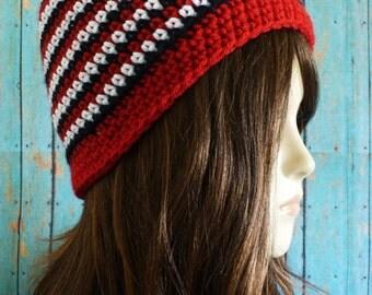 Crochet Hat, Striped Hat,  crochet beanie  with Pompon, acrylic yarn, Crochet Hats, Girls Hat, Women Crochet Hat, Women Crochet Beanie