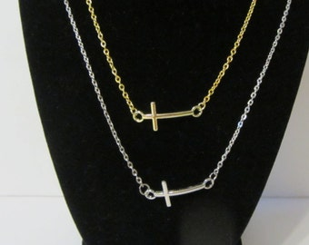 Silver or Gold Finish Cross Pendant Chain Necklace
