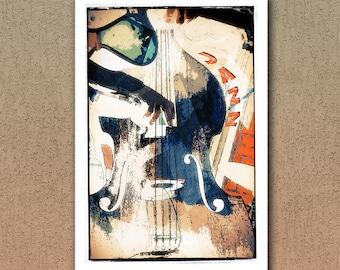 Double bass Jazz Poster, Jazz, Jazz Poster, Jazz Music, Music Print, Music Poster, Jazz Art, Illustration, Fine Art Print