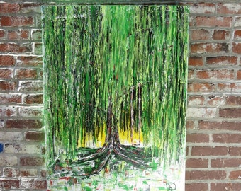 MEDArts Original weeping willow tree swing Green Red black White Impasto texture and colorful Abstract  Palette knife painting