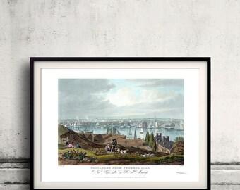 Baltimore from Federal Hill  - 1831 - Fine Art Glicée Poster Digital Wall art Illustration Print Decorative- SKU 0129