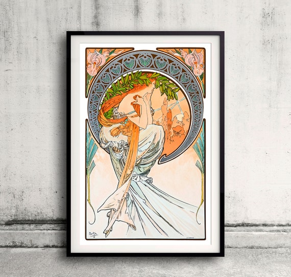 The Arts, Poetry by Alphonse Mucha- 1898 - Fine Art Glicée Poster