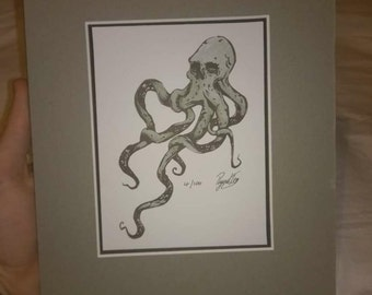 Original art print - Watercolour Skull Octopus - Signed&Limited edition -Mounted