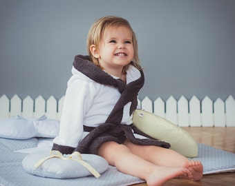 Childrens robes Star - Lounge robe Toddler bathrobe - Terry cloth boy's girl's hooded robe