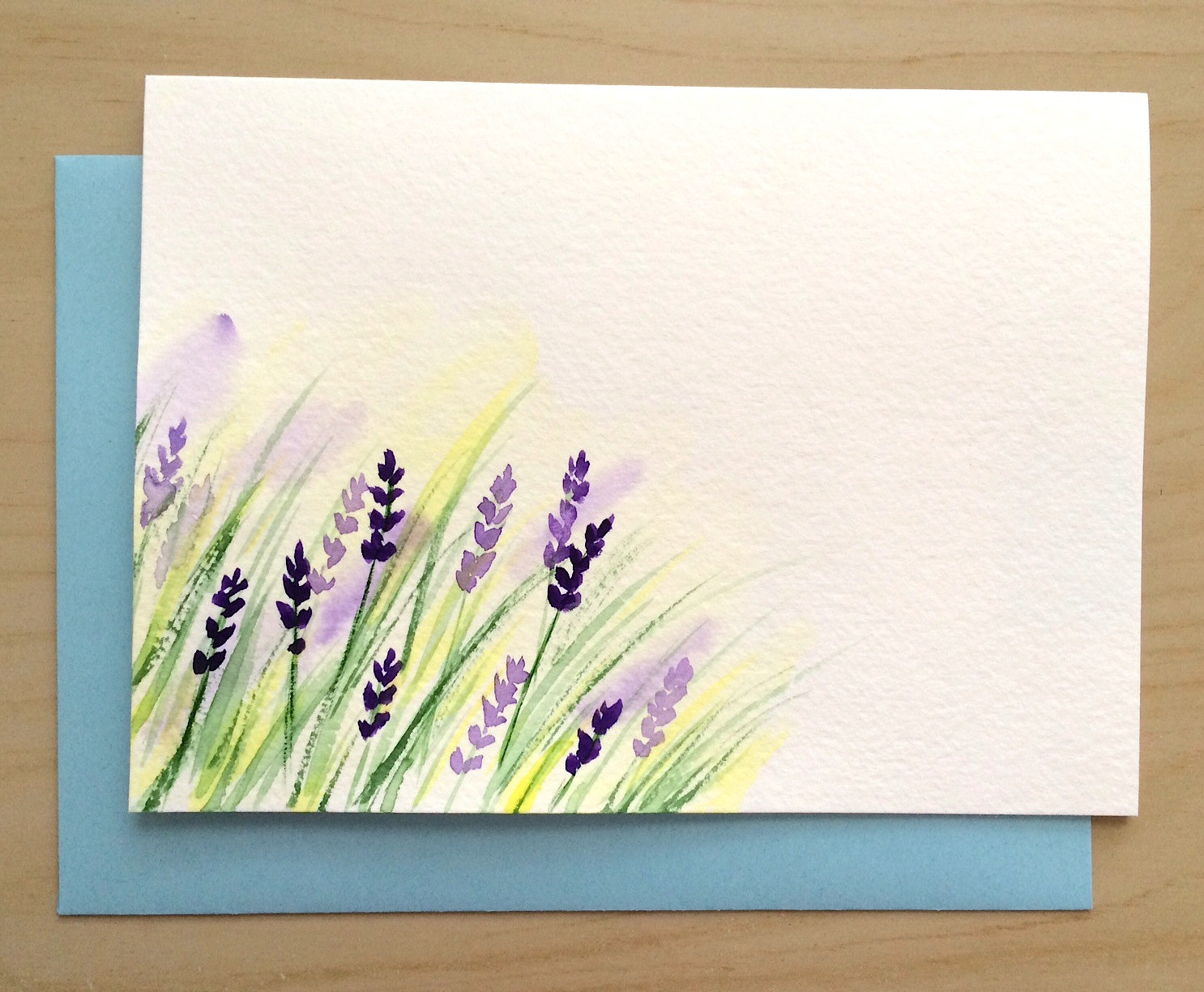 Hand painted greeting card 5x7 lavender blank card original for Painted christmas cards