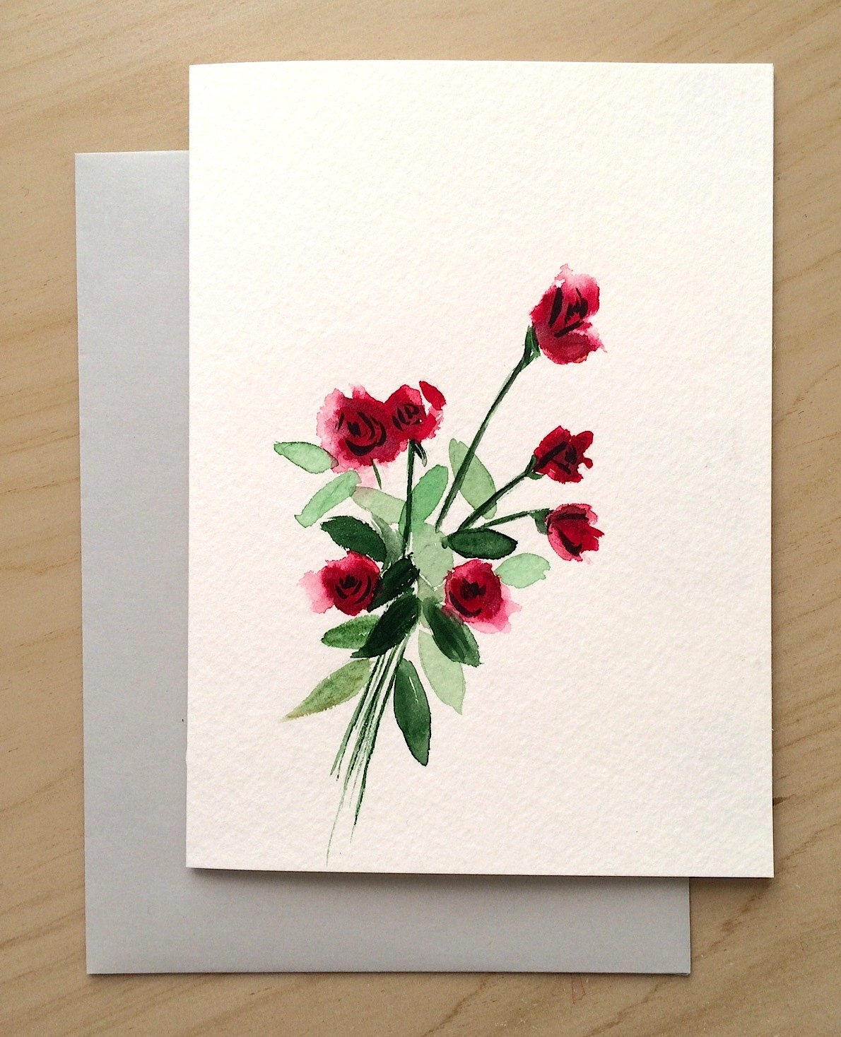 hand painted greeting card 5x7 red roses blank card
