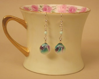 Fused Glass & Sterling Silver Earrings: Purple And Green