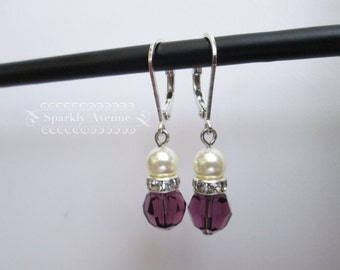 Purple Earrings Amethyst Swarovski Crystal Bridesmaid Earrings Crystal Wedding Earrings Bridal Jewelry Chandelier Earrings Ivory Pearl Chloe