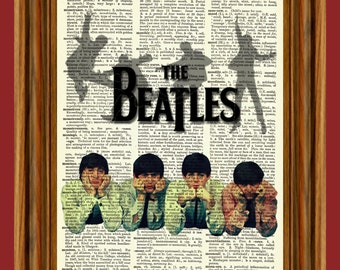 The Beatles Dictionary Art Upcycled Vintage Page Print Poster
