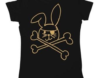 Pirate Bunny Womens Rabbit & Crossbones Cute Printed T-Shirt