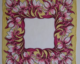 Vintage Handkerchief Pink Iris on Wide Yellow Border Gorgeous