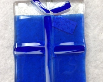 "Gift Box Fused Glass Ornament 2.5""x3"""
