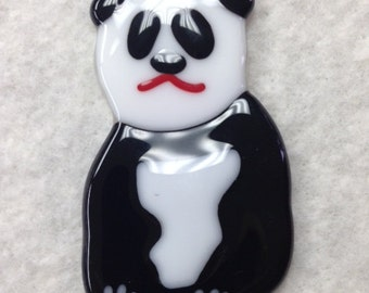 "Panda Bear Fused Glass Ornament 2""x3.25"" or 3.5""x5.5"""