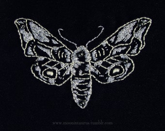 THREADS OF MOONLIGHT – Moth Embroidery Patch - with pearls and silver thread, handmade, 13 cm x 16 cm