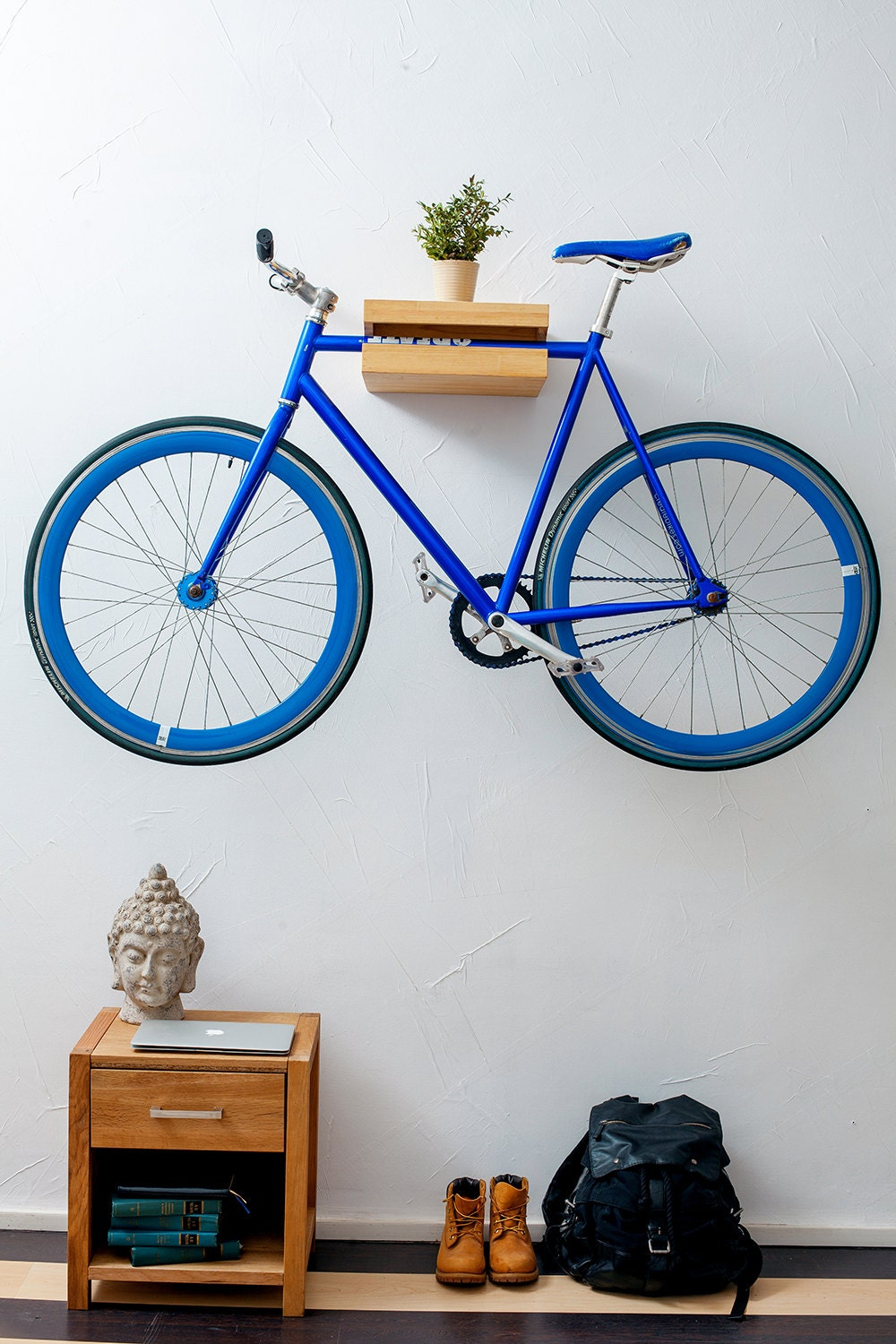Wooden bicycle shelf rack by velopolka on etsy Bicycle bookshelf