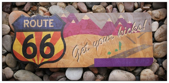 Recycled Wood Sign Route 66 Unique Home Decor By Clownlaugh