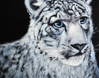 "Snow Leopard painting - 8.5 x 11"" print from original acrylic painting"