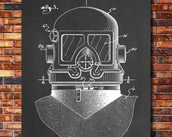 Diving Mask Patent Print Art 1942