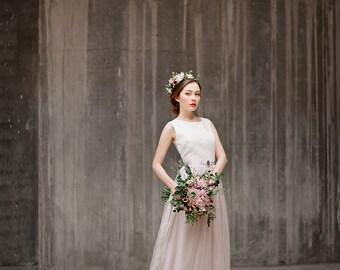 Ulyana // Bohemian wedding dress - Wedding gown - Boho wedding dress - Illusion lace back wedding dress - Romantic weddin dress - Boho lace