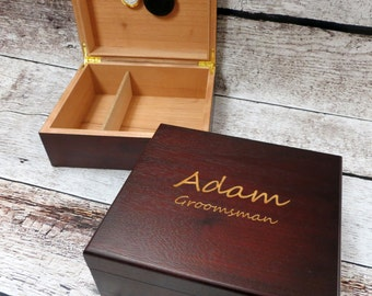 Personalized Cedar Cigar Humidor- Gifts for Men- Groomsmen- Best Man- Wedding Gifts-  Husband