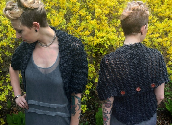 Handknit chunky scarf, wrap, poncho, and shrug all in one!  Color: Charcoal