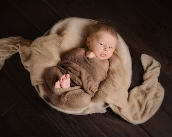 Newborn photo prop cloud blanket baby photography wool fluff natural wool basket filler layering blanket newborn wrap