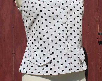 SALE 1960s Polka dot sleeveless Top French Vintage