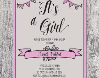 Its a girl baby shower invitation custom modern banner DIGITAL FILE
