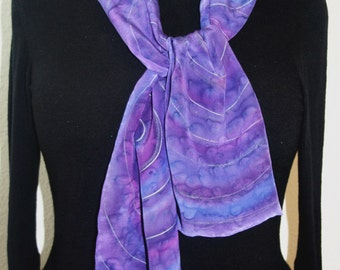 Silk Scarf Handpainted. Purple, Lavender Hand Painted Shawl. Handmade Silk Wrap  PURPLE SHELLS. Size 8x54. Birthday Gift Mother's Day.