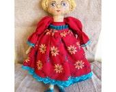 Cloth soft doll Art soft doll Spanish girl in a burgundy dress Art textile Interior  doll Rag doll Fabric doll