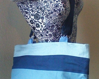 Shades of Blue Zippered Shoulder Tote Purse