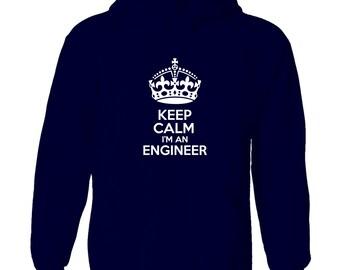 keep calm i'm an engineer men's hoody funny humour
