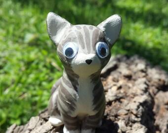 OOAK Handmade Polymer Clay Tabby Cat Figurine