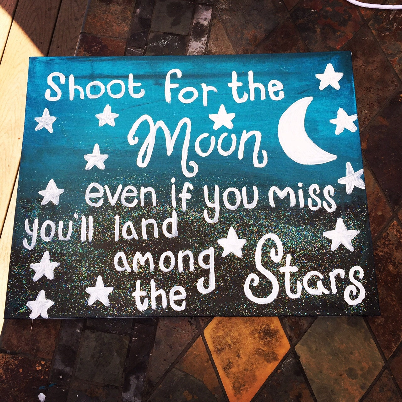 Inspirational Quotes On Pinterest: Kids Room Canvas Shoot For The Moon Even If You Miss By
